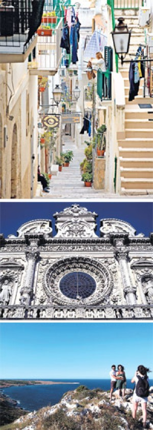Old as tradition ... (top to bottom) street life in Vieste, Puglia; baroque splendour of Santa Croce church in Lecce; ...