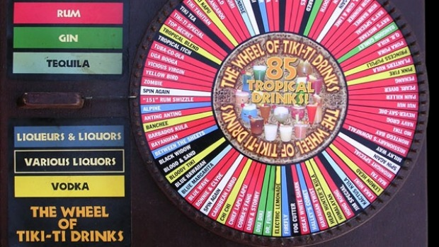 All the drinks are on the Tiki Ti Drinks Wheel. Just step on up and spin it game show-style.
