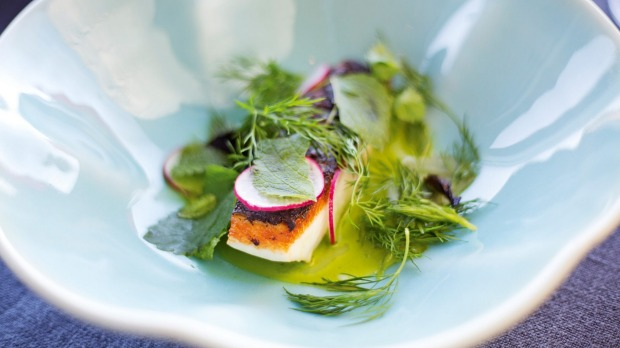 One of the dishes, based on seasonal, locally-sourced produce, served at Southern Ocean Lodge, Kangaroo Island, South ...