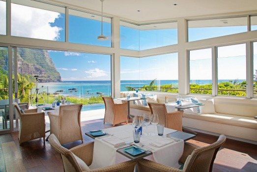 The dining room at the luxurious Capella Lodge, Lord Howe Island.