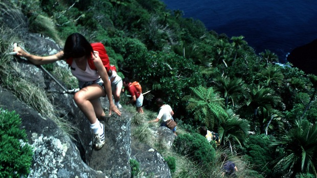 Steep descent: Climbing Mount Gower onLord Howe Island.
