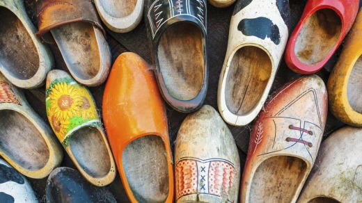 The heritage: Colourful vintage Dutch wooden clogs.