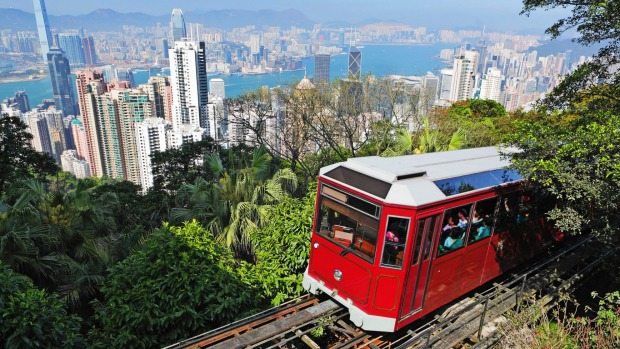 Ascend The Peak in Hong Kong and wander clockwise along bamboo-shaded Harlech and Lugard Roads.