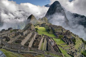 Ancient ruins among the clouds: Machu Picchu in Peru.
