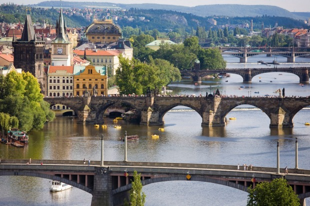 Lovely panoramas: Charles Bridge on Vltava River in Prague.