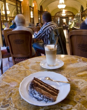 Tempt me: Truffle Torta layered chocolate cake and coffee in  Budapest.