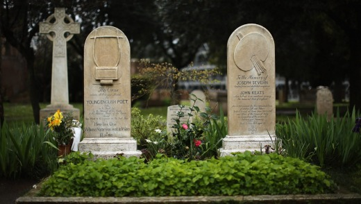 Together in death: The gravestones of John Keats and his friend Joseph Severn.