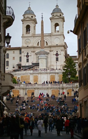 Tourist draw card: The Spanish Steps where the Keats-Shelley House, in which Keats died, is located.