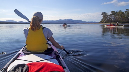 Still waters: Kayakers in Port Davey.