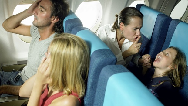 Grating getaway: Kiddie tantrums on planes are hard to cope with.