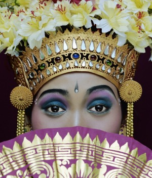 Rainbow colours: A traditional dancer in Bali.