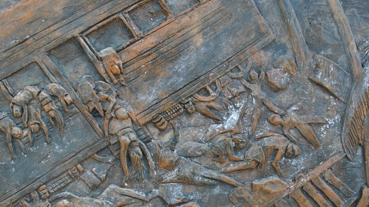 Tragic relief: A detail at the memorial site of the Sir Lanka's worst rail disaster, in 2004, when a tsunami struck.