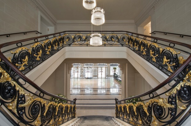 Grand elegance: The staircase in the lobby at the Peninsula Paris.