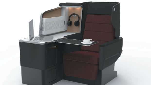 The all-new Qantas Business Suite is designed to keep all your carry-on gear and gadgets close at hand.