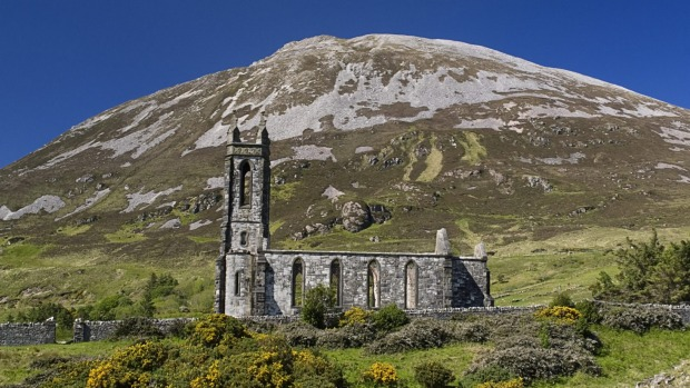 Postcard perfect: Mount Errigal and ruined church.