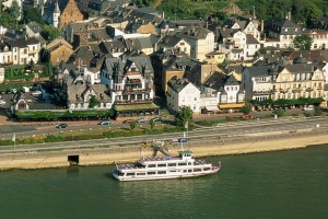 Wine region: Cruising the Rhine takes in the sights of Assmannshausen on its banks, renowned for its red wine.