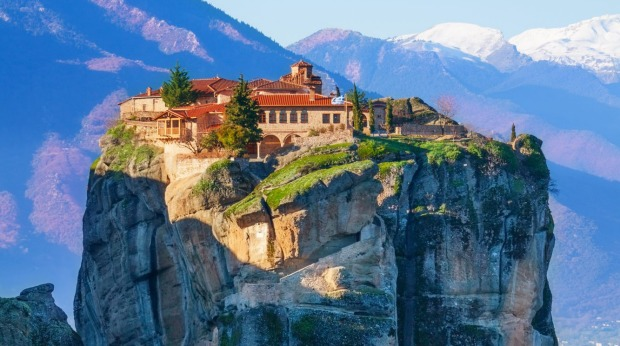 Explore the mainland: View on the Monastery of Holy Trinity, situated on the cliff, Meteora, Greece.
