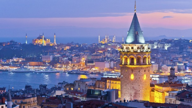 Grand vistas: An early evening view of the Istanbul skyline overlooking the Bosphorus with Galata Tower in the foreground.