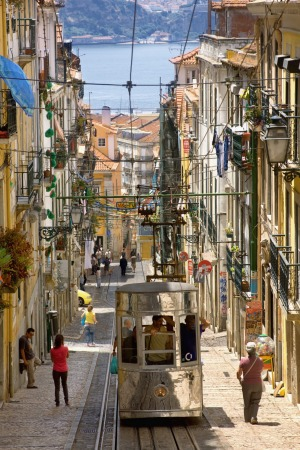 Underrated capital: A funicular trundles along a typically steep street in Lisbon, Portgual.