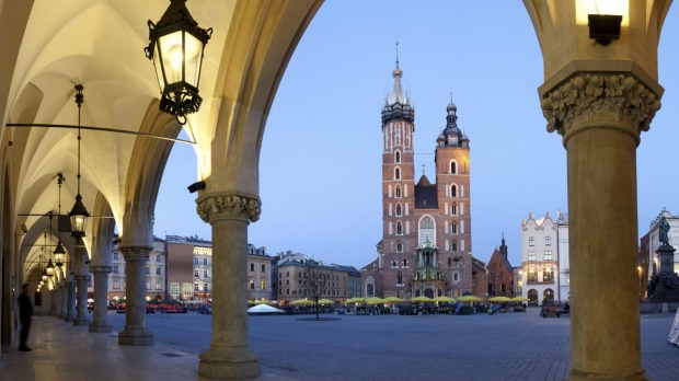 View from the Cloth Hall of the Mariacki Church, Krakow, Poland.