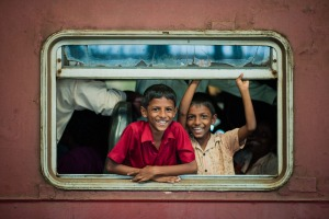 Children on a train in Sri Lanka.