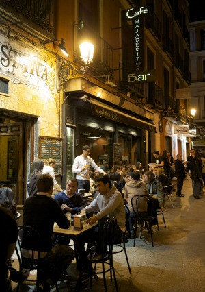 Tapas territory: A late night bar in Madrid, Spain.