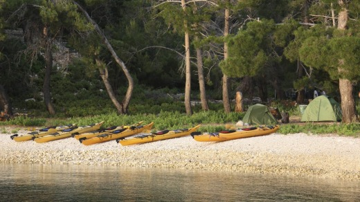 Kayaks and campsite on Prison Island.