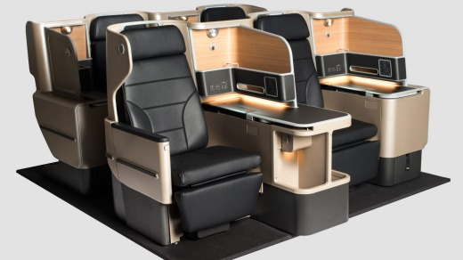 The new business class seats for Qantas' A330 aircraft.