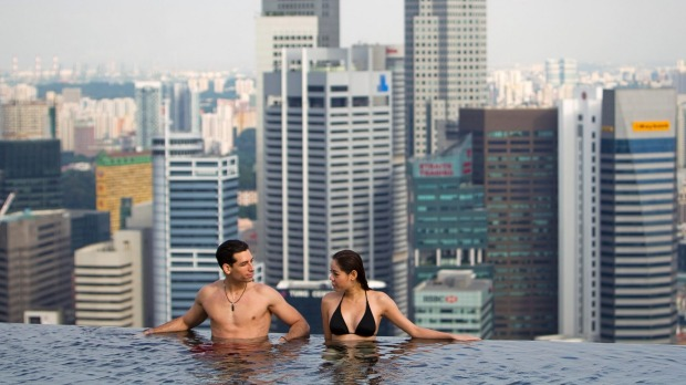 Hot destination: The view from the rooftop pool at Marina Bay Sands in Singapore.