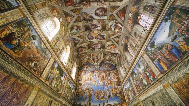 Watching over you: A view of the ceiling at the Sistene Chapel in Rome.
