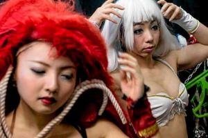 Performers change into their costumes backstage prior to the start of a show at The Robot Restaurant in Tokyo, Japan.