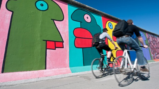 Creative space: Murals painted on an original section of Berlin Wall at East Side Gallery.