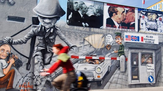 Nostalgia: Colourful murals painted on Berlin Wall at East Side Gallery.