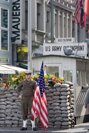 Checkpoint Charlie where non-Germans once crossed between the two Berlins.
