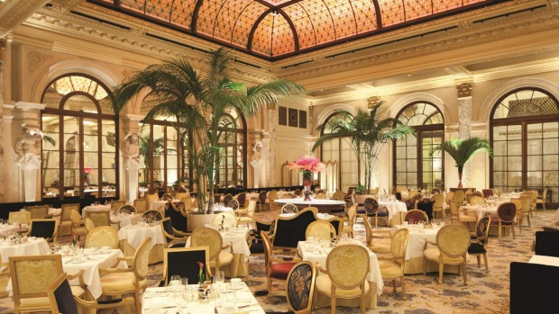 Breathtakingly expensive breakfast: The Palm Court, Plaza Hotel, New York City.