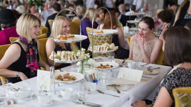 Time for tea: Patrons enjoy the atmosphere in the Wintergarden room at the Hydro Majestic.