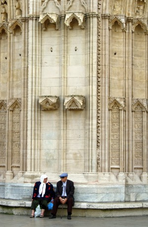 Heritage: A couple rest in front of the cathedral in the St Jean district of Vieux Lyon.