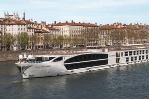 Cruising through: Uniworld SS Catherine on the Rhone River in Lyon.