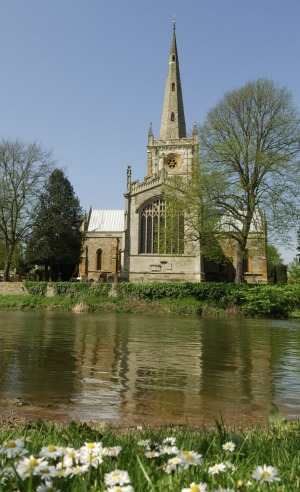 The Avon River and the church where Shakespeare is buried.