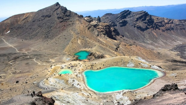 Tongariro Crossing, New Zealand: The striking, iridescent, Emerald Lakes on the otherworldly, lunar landscape of the ...