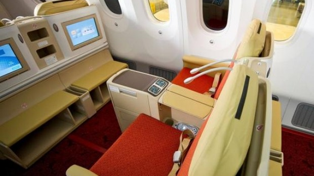 Great food and a comfortable bed are available on Air India Dreamliner business class.