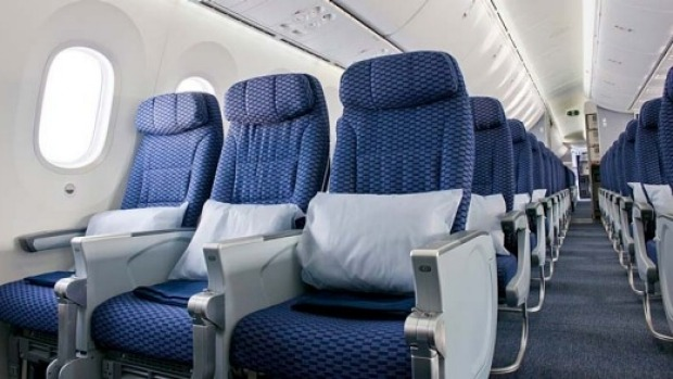 Economy class on the United Airlines 787 Dreamliner.