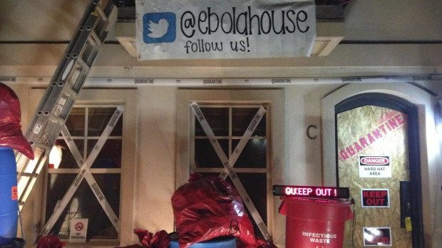 A home decorated for Halloween to resemble an Ebola hot spot is seen in University Park near Dallas, Texas.