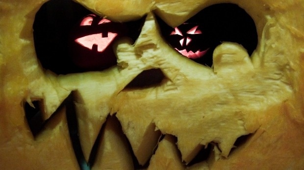 A pumpkin carved with a grimacing face in Hanover, Germany.
