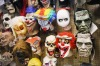 Halloween masks on display at Fantasy Costumes in Chicago, Illinois.