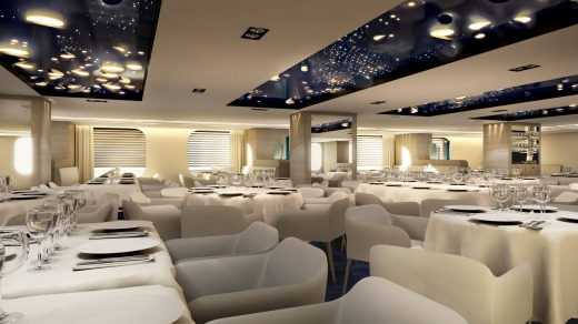 In the dining room of Ponant's new luxury expedition ships