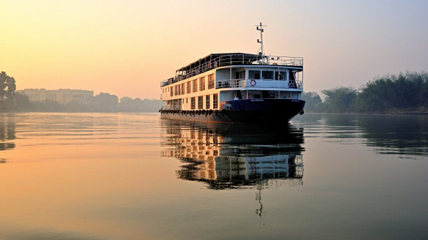 The ABN Rajmahal cruises the Varanasi.