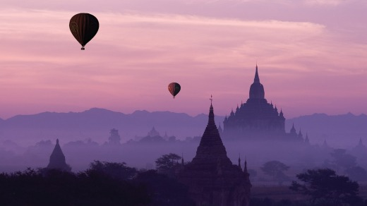 Celebrate your 50th by floating over Bagan, Burma, in a hot-air balloon.