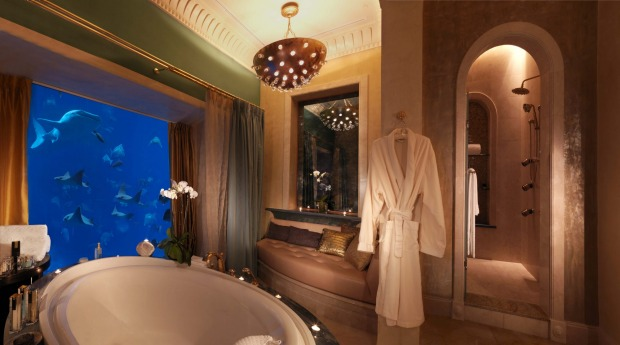 Marine serenity: A bathroom in an underwater suite at The Palm Atlantis.
