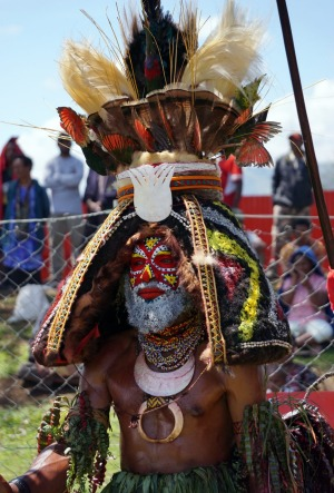 A Highlands tribesman wears an elaborate headdress at the Mount Hagen Cultural Show.
